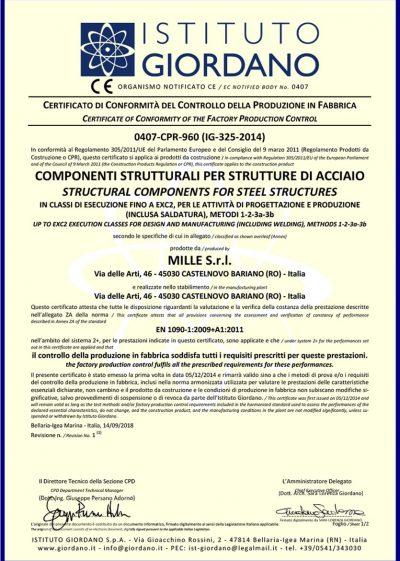 certificato-UNI-EN-1090-1 2009-1-mille-srl